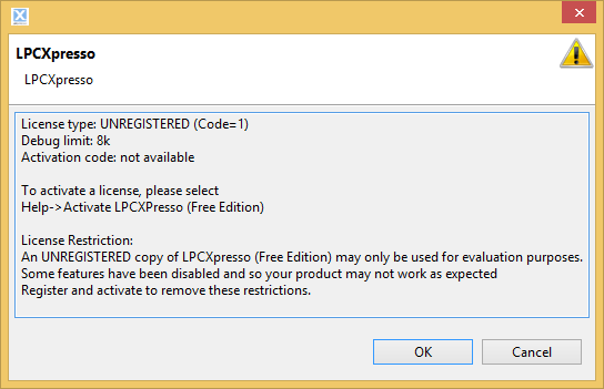After installation the LPCXpresso IDE asks us to activate it